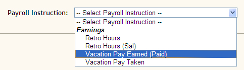screen shot payroll instruction drop down