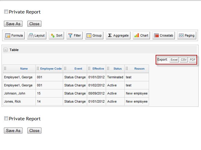 screen shot of report layout